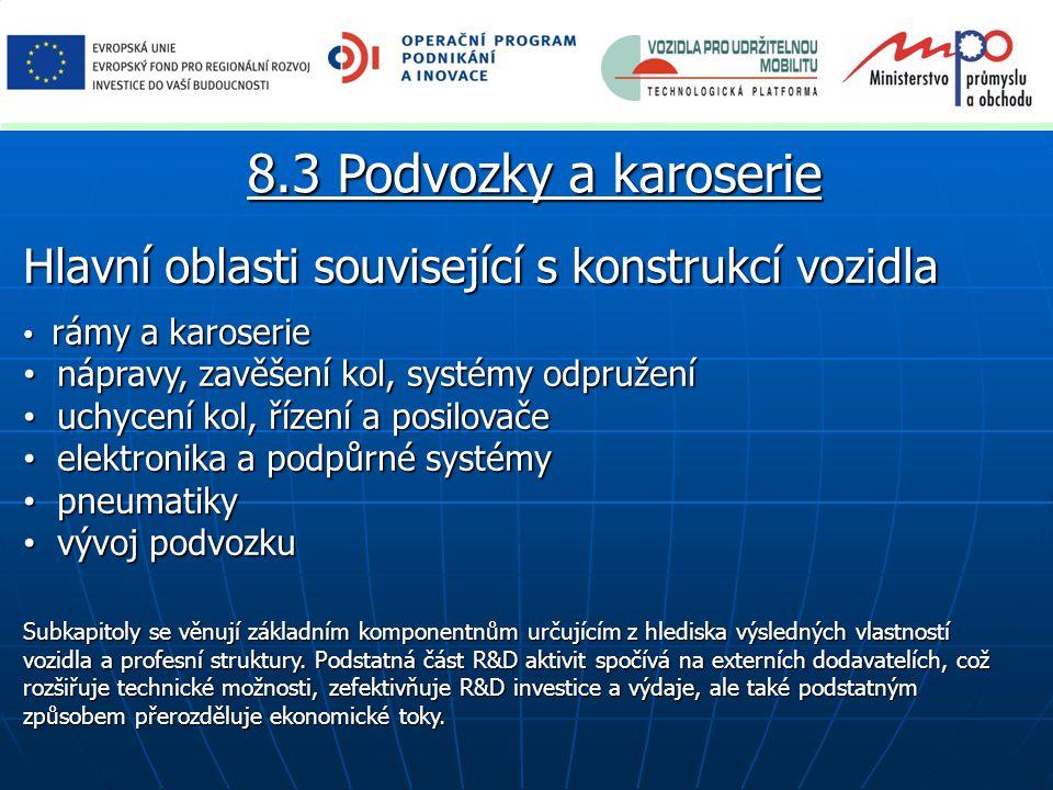 8.3 Podvozky a karoserie Hlavní oblasti související s konstrukcí vozidla. rámy a karoserie. nápravy, zavěšení kol, systémy odpružení.