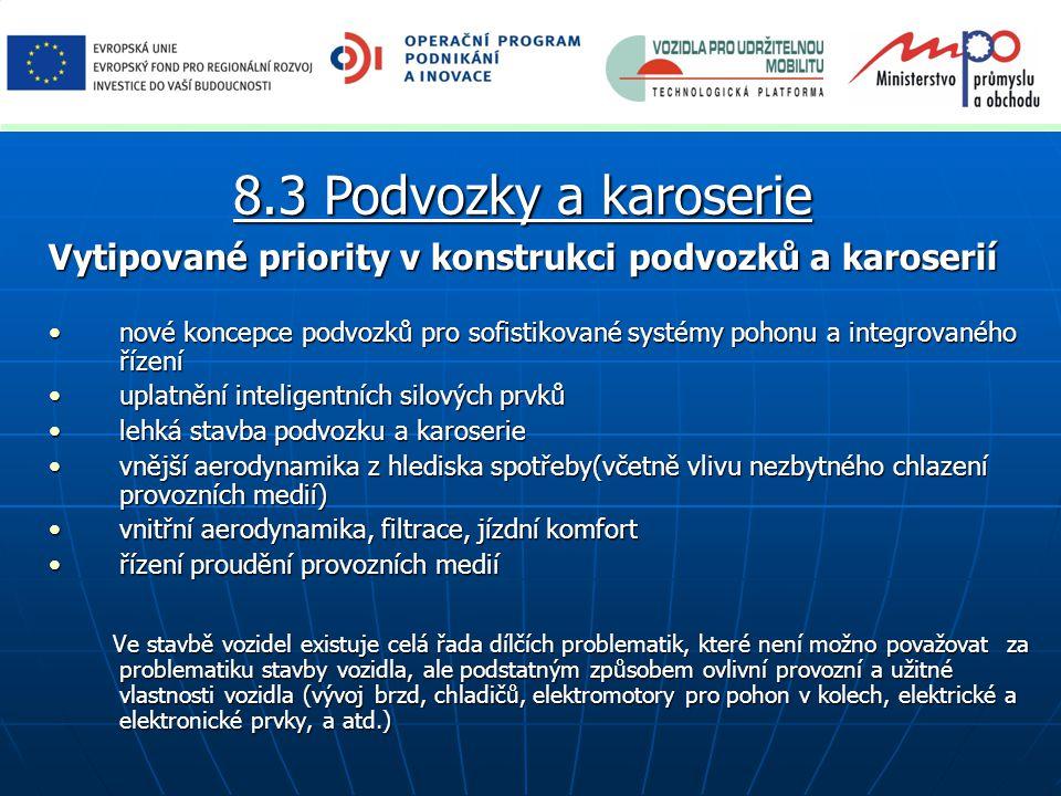 8.3 Podvozky a karoserie Vytipované priority v konstrukci podvozků a karoserií.
