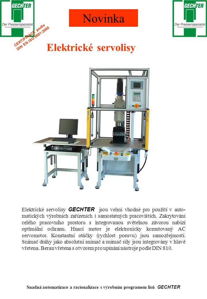 Snadná automatizace a racionalizace s výrobním programem lisů GECHTER