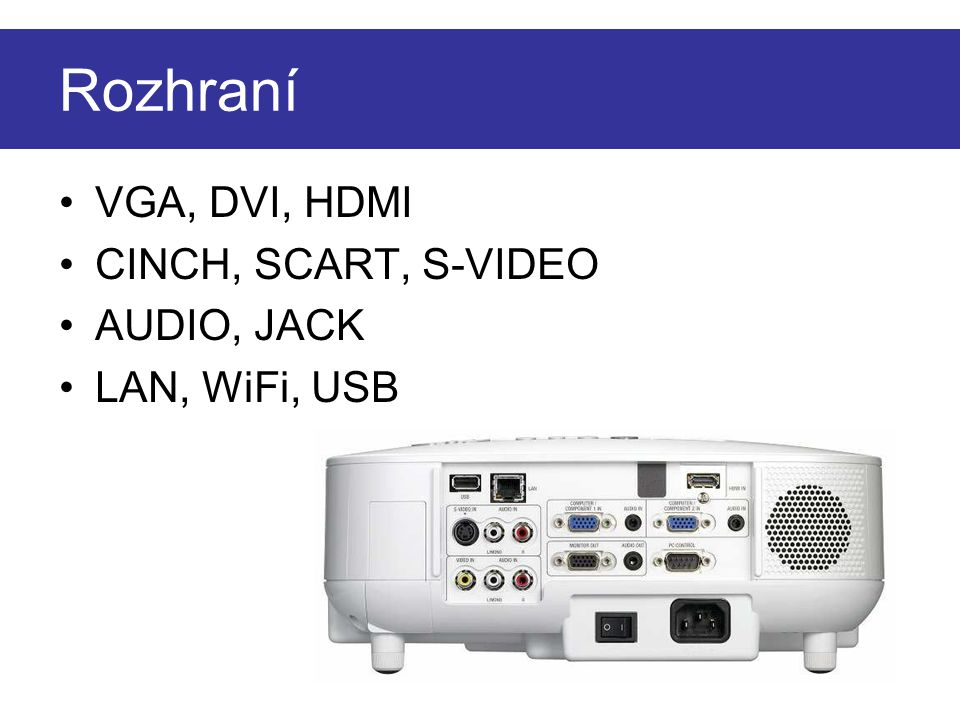 Rozhraní VGA, DVI, HDMI CINCH, SCART, S-VIDEO AUDIO, JACK