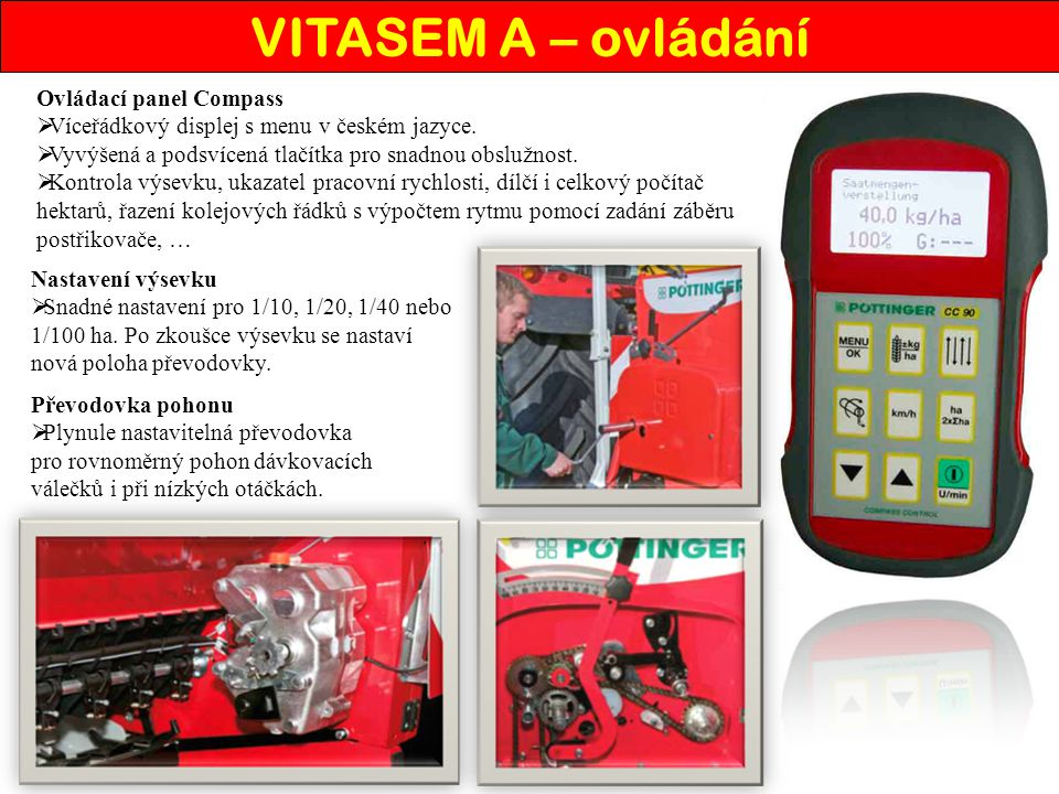 VITASEM A – ovládání Ovládací panel Compass