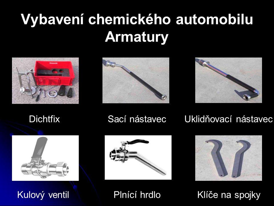 Vybavení chemického automobilu Armatury