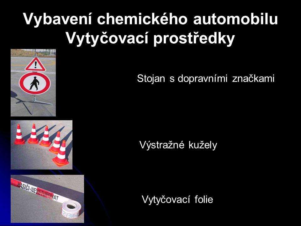 Vybavení chemického automobilu Vytyčovací prostředky