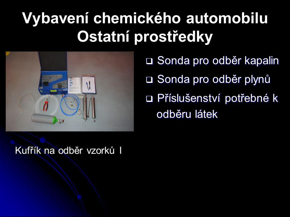 Vybavení chemického automobilu Ostatní prostředky