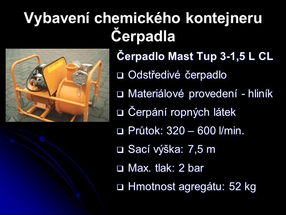 Vybavení chemického kontejneru Čerpadla