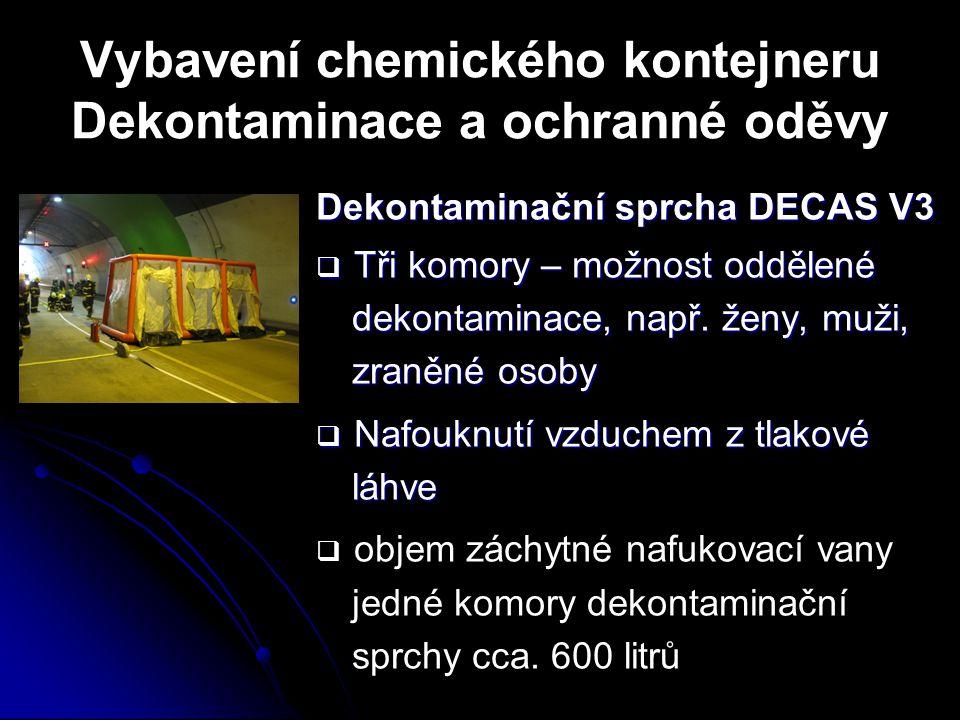Vybavení chemického kontejneru Dekontaminace a ochranné oděvy