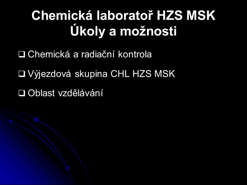 Chemická laboratoř HZS MSK Úkoly a možnosti