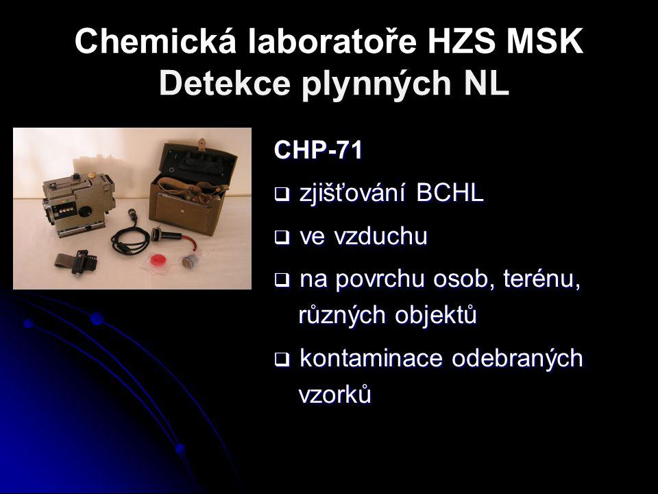 Chemická laboratoře HZS MSK Detekce plynných NL