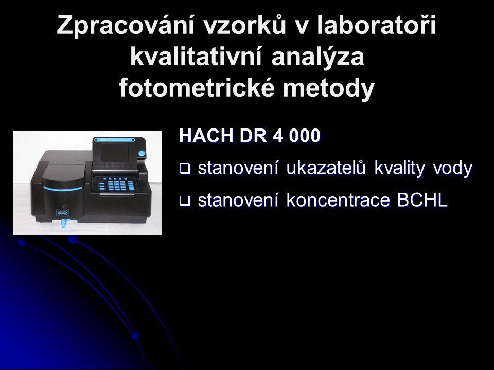 Zpracování vzorků v laboratoři kvalitativní analýza fotometrické metody