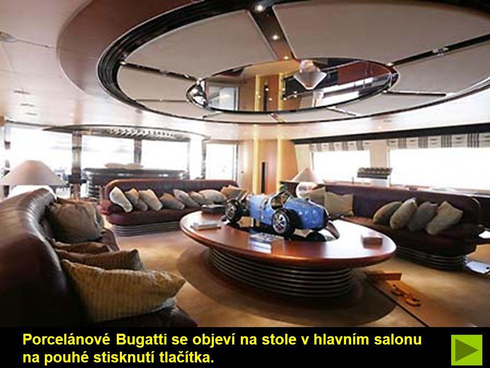 Porcelánové Bugatti se objeví na stole v hlavním salonu na pouhé stisknutí tlačítka.