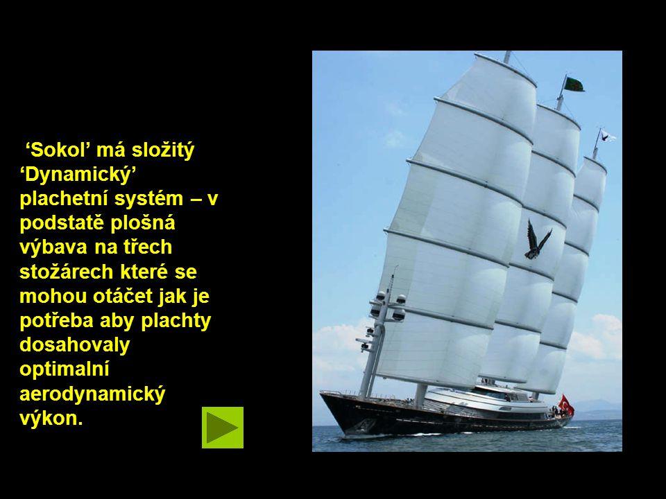 'Sokol' má složitý 'Dynamický' plachetní systém – v podstatě plošná výbava na třech stožárech které se mohou otáčet jak je potřeba aby plachty dosahovaly