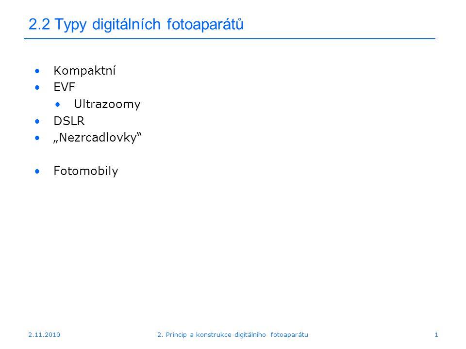 2.2 Typy digitálních fotoaparátů