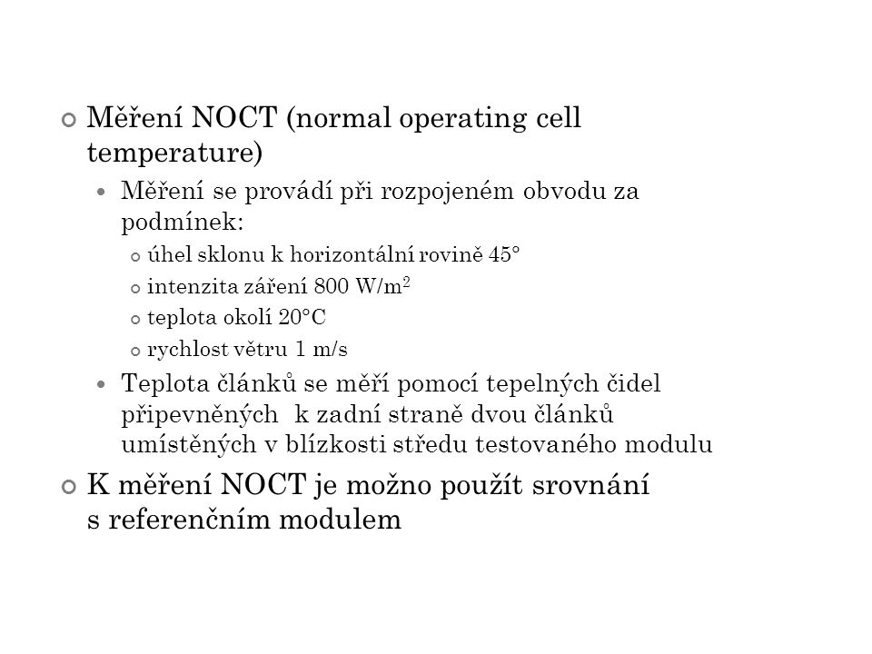 Měření NOCT (normal operating cell temperature)