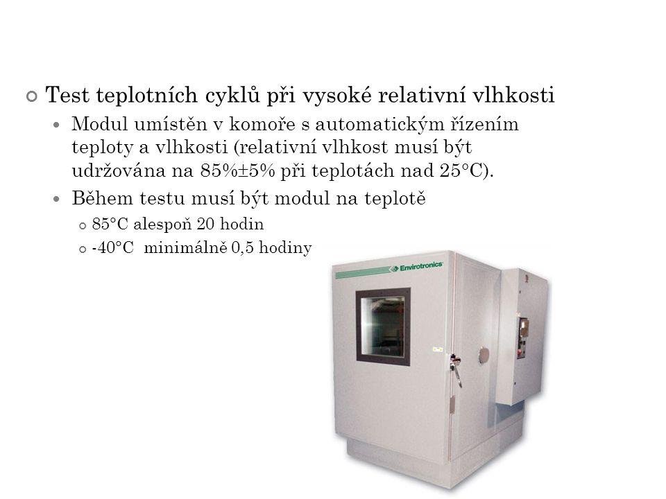 Test teplotních cyklů při vysoké relativní vlhkosti