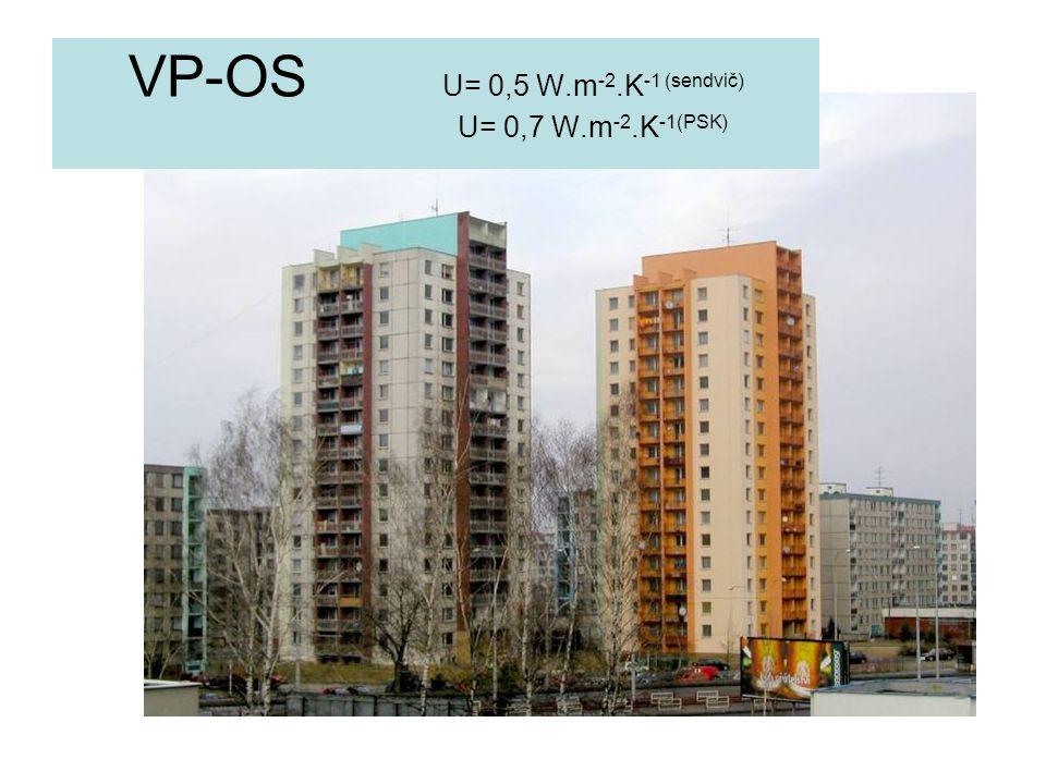 VP-OS U= 0,5 W.m-2.K-1 (sendvič) U= 0,7 W.m-2.K-1(PSK)