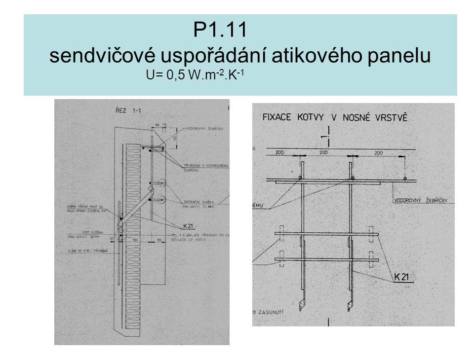 P1.11 sendvičové uspořádání atikového panelu U= 0,5 W.m-2.K-1