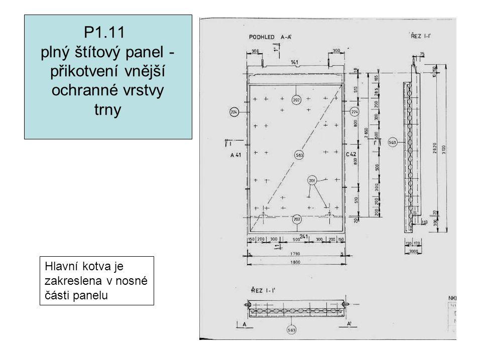 P1.11 plný štítový panel - přikotvení vnější ochranné vrstvy trny