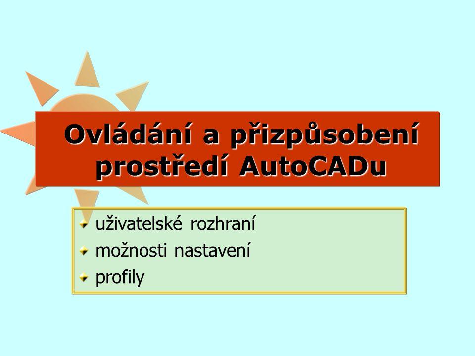 Ovládání a přizpůsobení prostředí AutoCADu