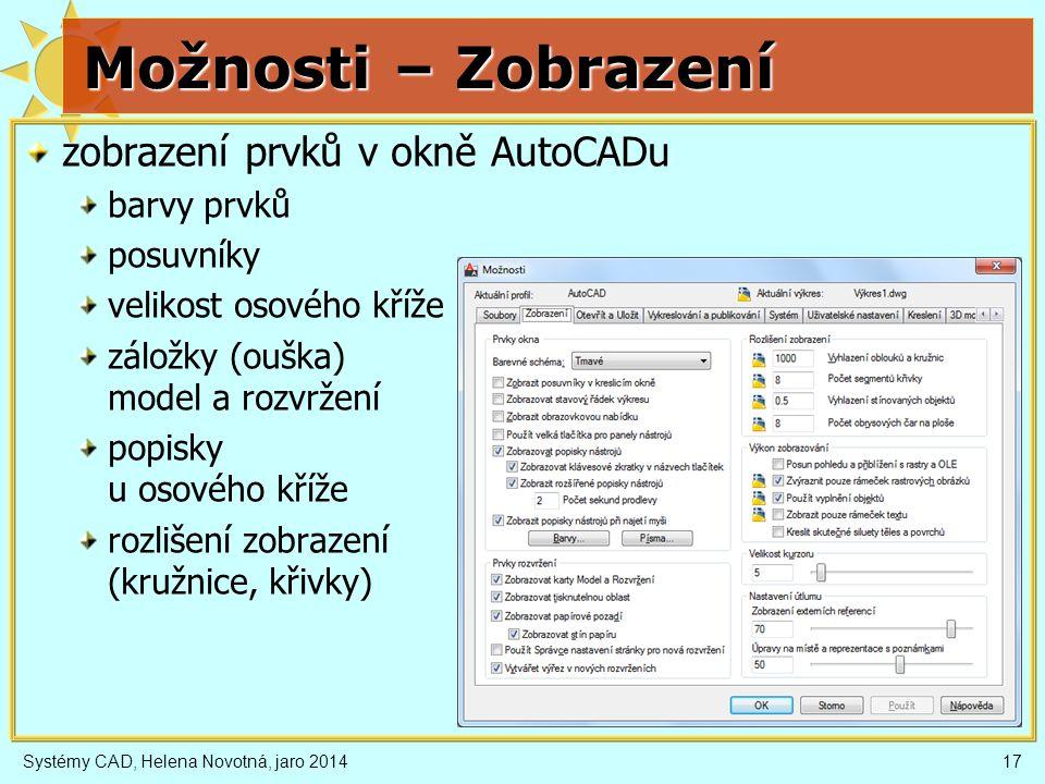 Možnosti – Zobrazení zobrazení prvků v okně AutoCADu barvy prvků