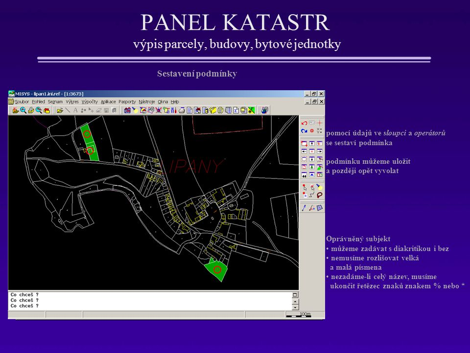 PANEL KATASTR výpis parcely, budovy, bytové jednotky