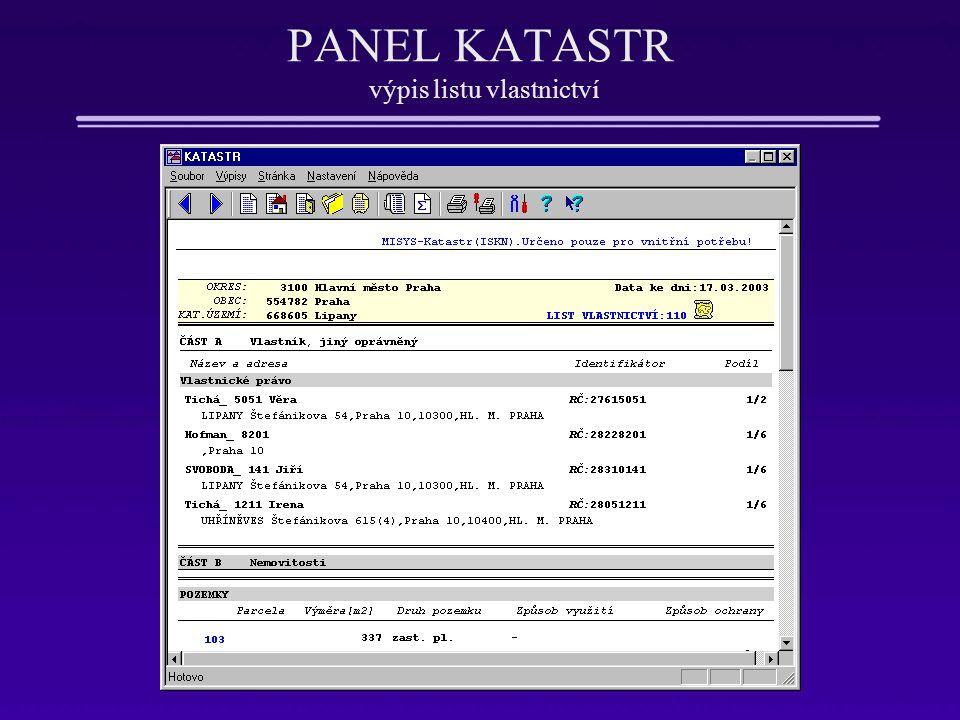 PANEL KATASTR výpis listu vlastnictví