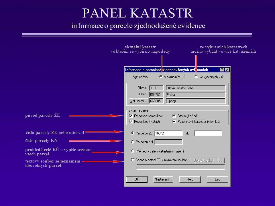 PANEL KATASTR informace o parcele zjednodušené evidence