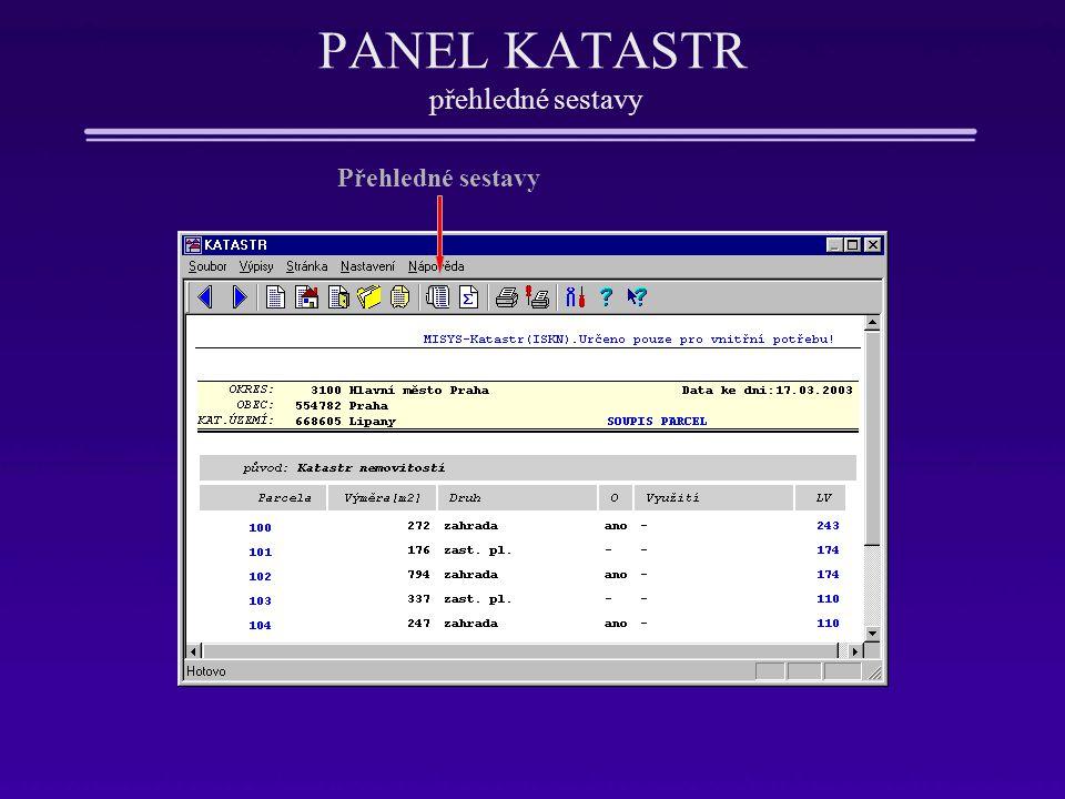 PANEL KATASTR přehledné sestavy