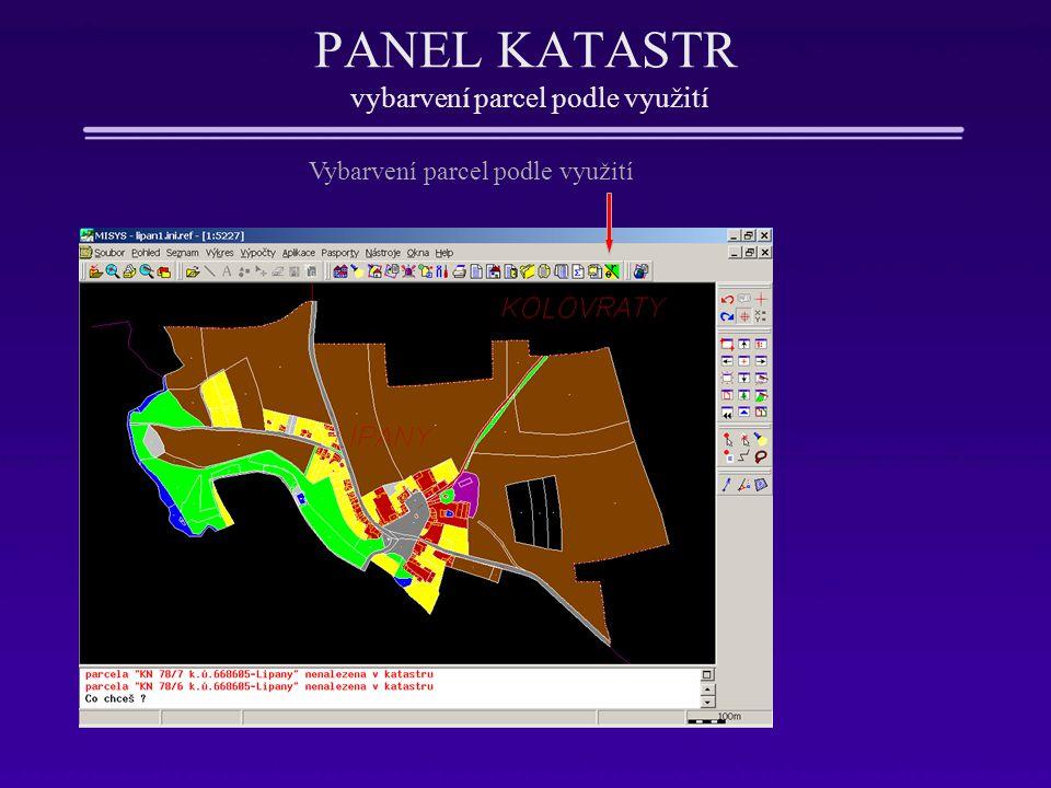 PANEL KATASTR vybarvení parcel podle využití