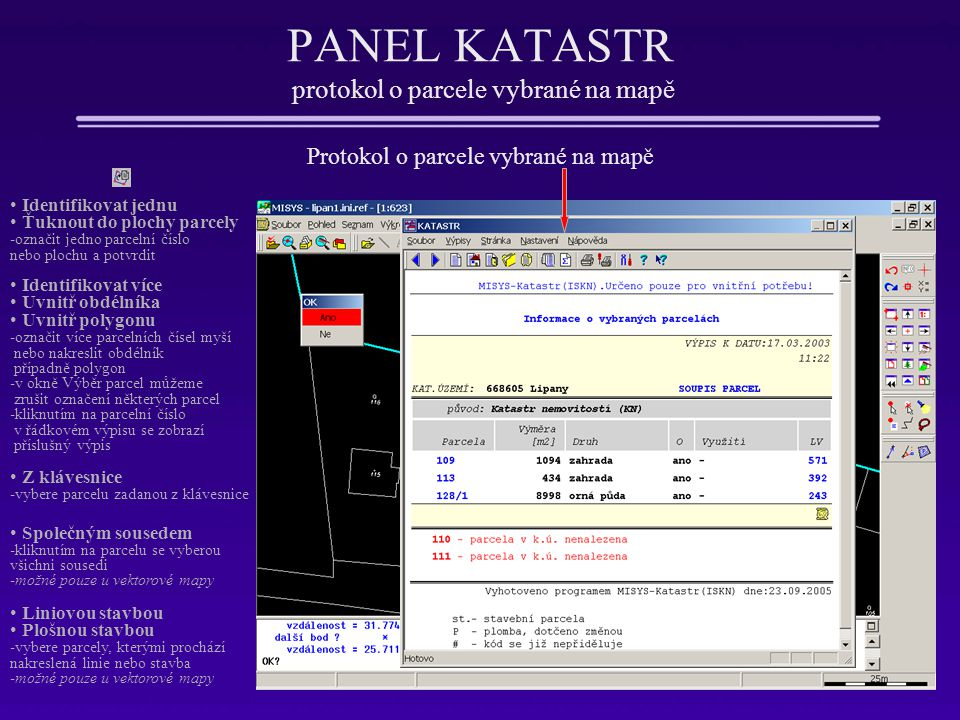 PANEL KATASTR protokol o parcele vybrané na mapě