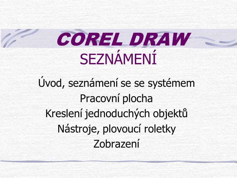 COREL DRAW SEZNÁMENÍ Úvod, seznámení se se systémem Pracovní plocha