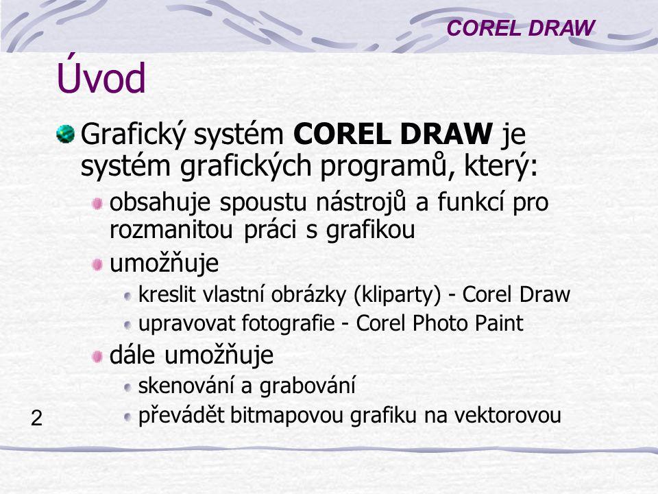 Úvod Grafický systém COREL DRAW je systém grafických programů, který: