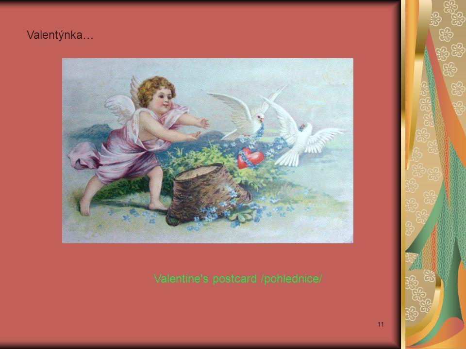 Valentýnka… Valentine s postcard /pohlednice/