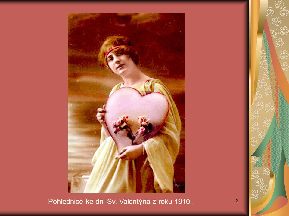 Pohlednice ke dni Sv. Valentýna z roku 1910.