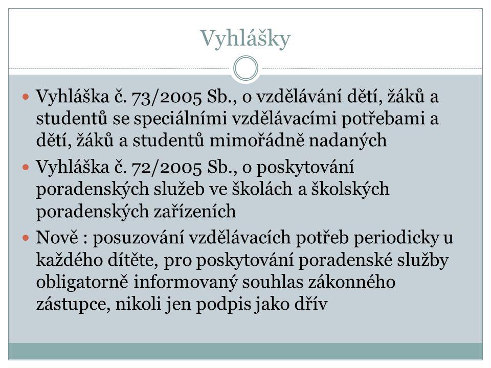 Vyhlášky Vyhláška č. 73/2005 Sb., o vzdělávání dětí, žáků a studentů se speciálními vzdělávacími potřebami a dětí, žáků a studentů mimořádně nadaných.