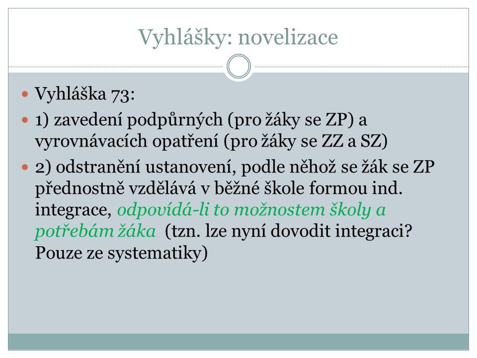 Vyhlášky: novelizace Vyhláška 73:
