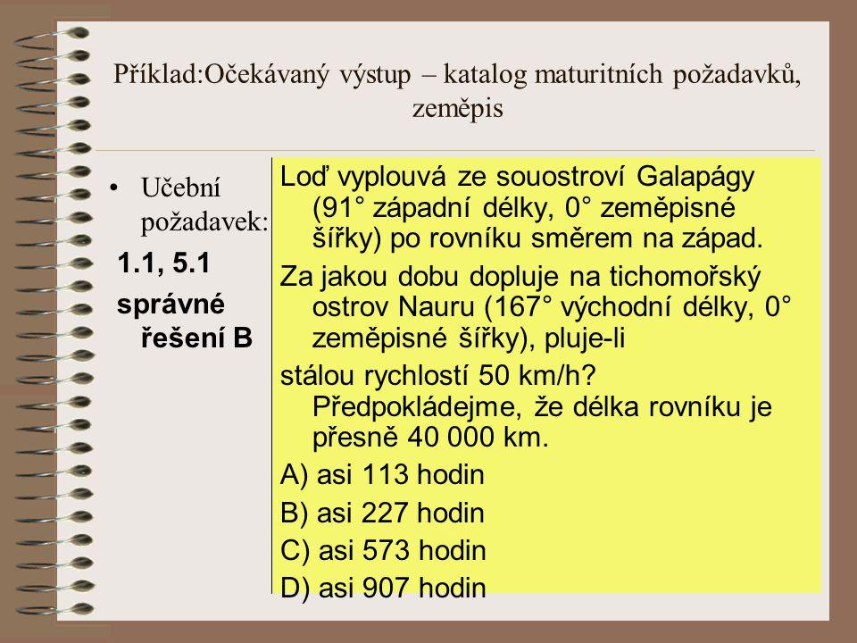 Příklad:Očekávaný výstup – katalog maturitních požadavků, zeměpis
