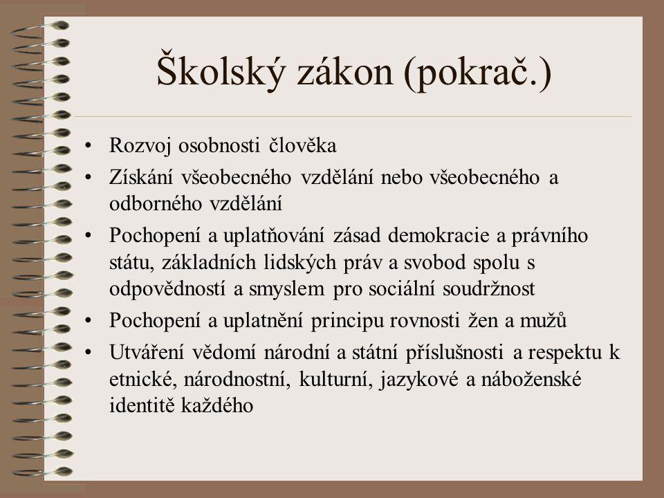Školský zákon (pokrač.)