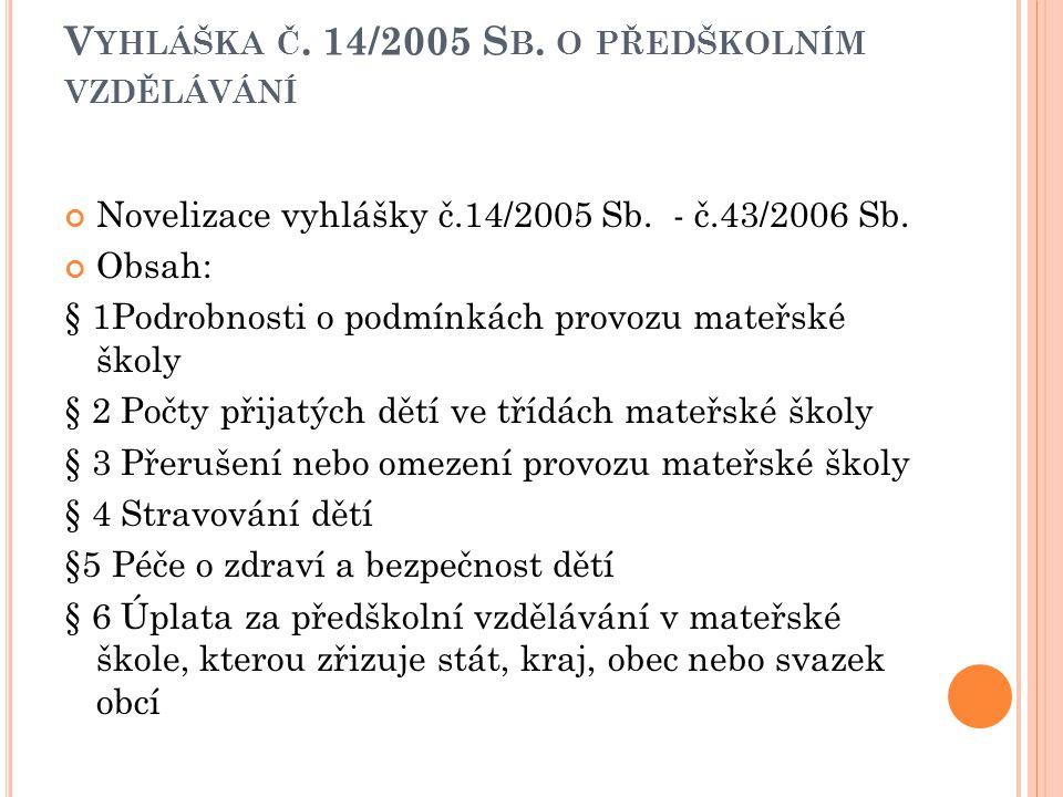 Vyhláška č. 14/2005 Sb. o předškolním vzdělávání