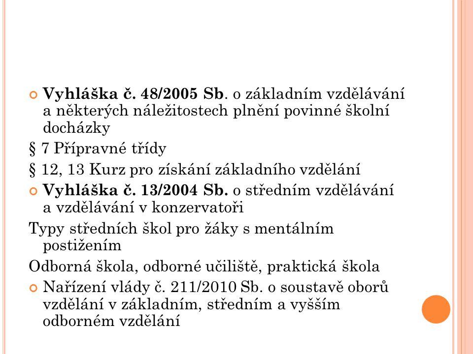 Vyhláška č. 48/2005 Sb. o základním vzdělávání a některých náležitostech plnění povinné školní docházky