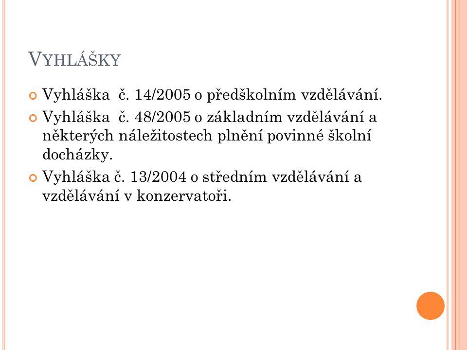 Vyhlášky Vyhláška č. 14/2005 o předškolním vzdělávání.