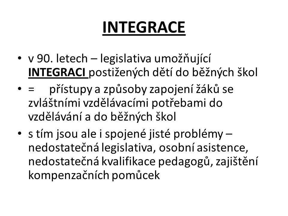 INTEGRACE v 90. letech – legislativa umožňující INTEGRACI postižených dětí do běžných škol.