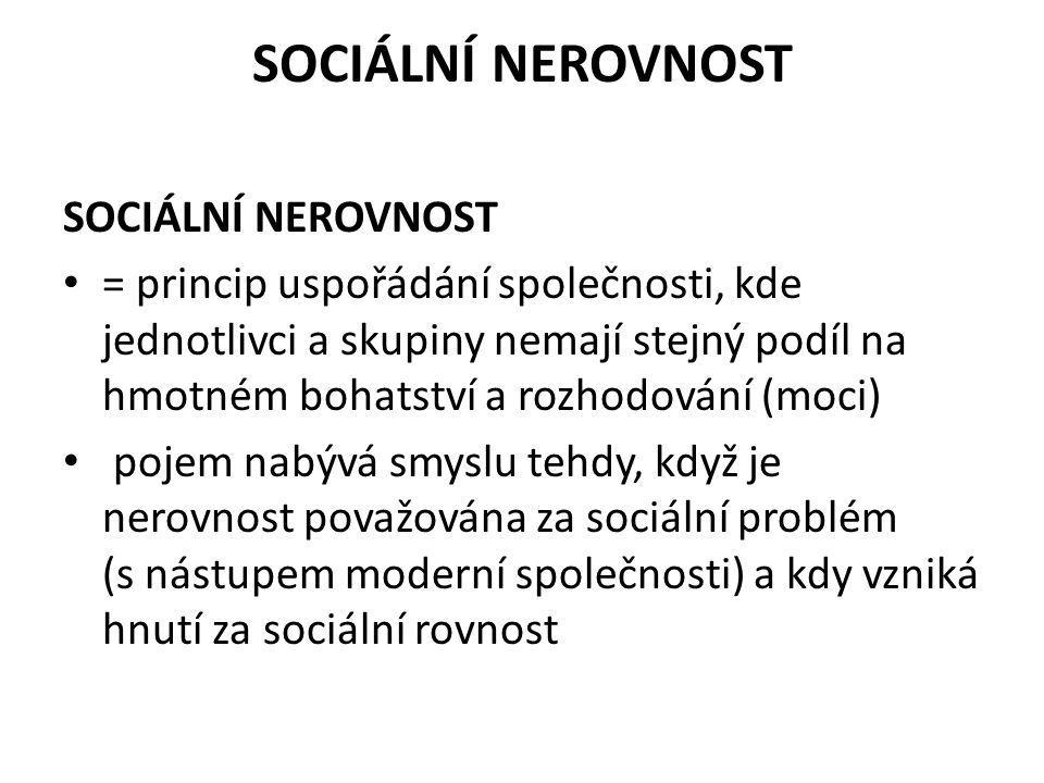 SOCIÁLNÍ NEROVNOST SOCIÁLNÍ NEROVNOST