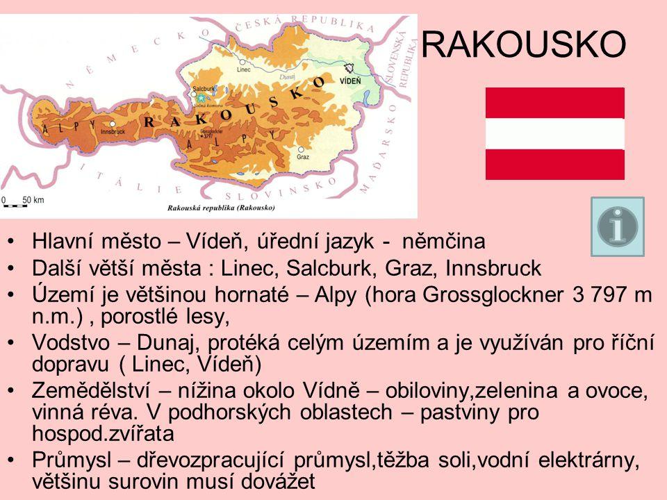 RAKOUSKO Hlavní město – Vídeň, úřední jazyk - němčina