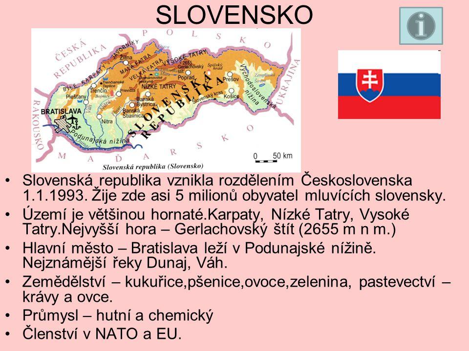 SLOVENSKO Slovenská republika vznikla rozdělením Československa 1.1.1993. Žije zde asi 5 milionů obyvatel mluvících slovensky.