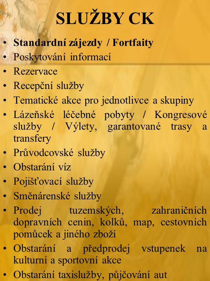 SLUŽBY CK Standardní zájezdy / Fortfaity Poskytování informací