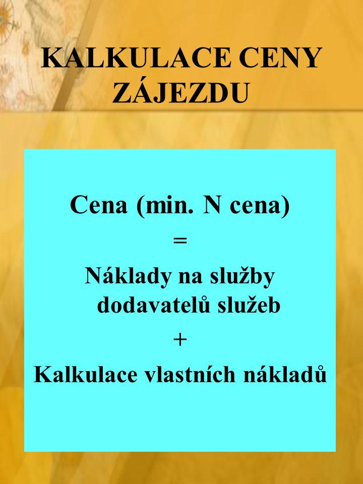 KALKULACE CENY ZÁJEZDU