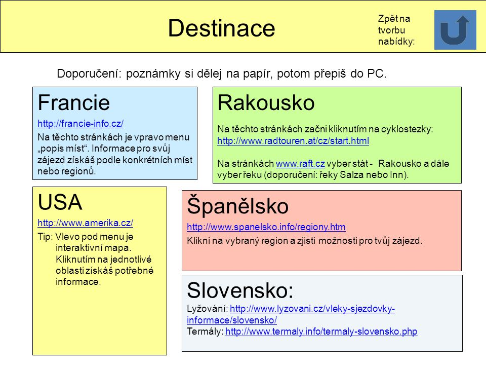 Destinace Francie Rakousko USA Španělsko Slovensko: