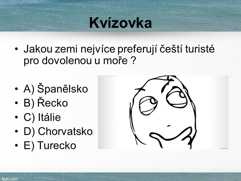 Kvízovka Jakou zemi nejvíce preferují čeští turisté pro dovolenou u moře A) Španělsko. B) Řecko.