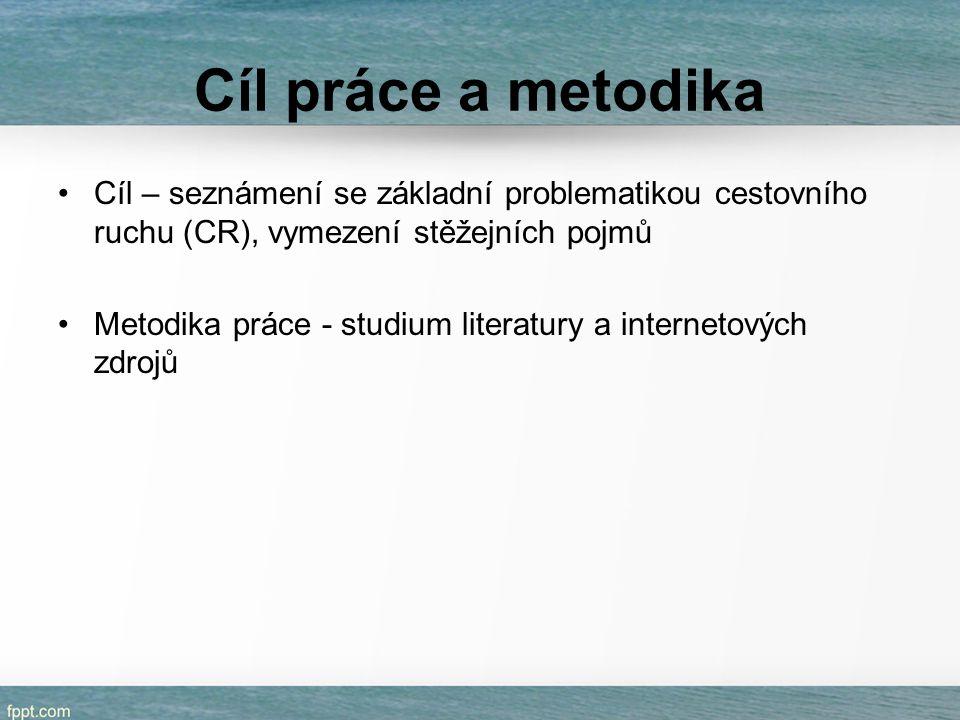 Cíl práce a metodika Cíl – seznámení se základní problematikou cestovního ruchu (CR), vymezení stěžejních pojmů.