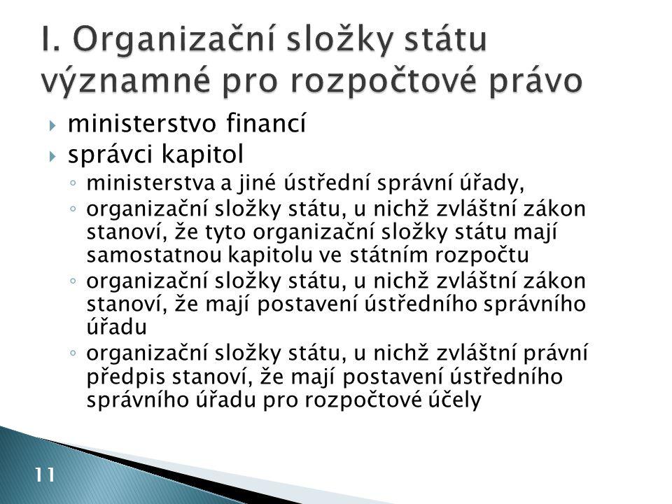 I. Organizační složky státu významné pro rozpočtové právo